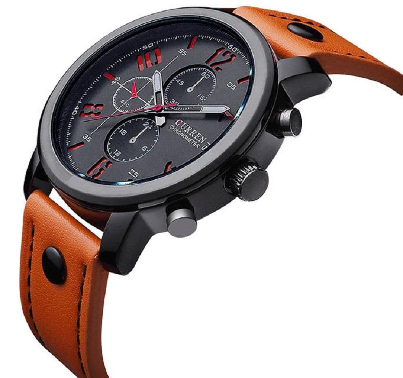 У часов Wrist Curren Man Sport Analog Quartz Fashion Leisure Leather Black Alloy стандартное крепление на ремешке