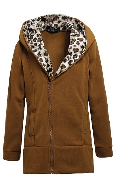 Правила сочетания M-4XL Leopard Hooded Zipper Coat
