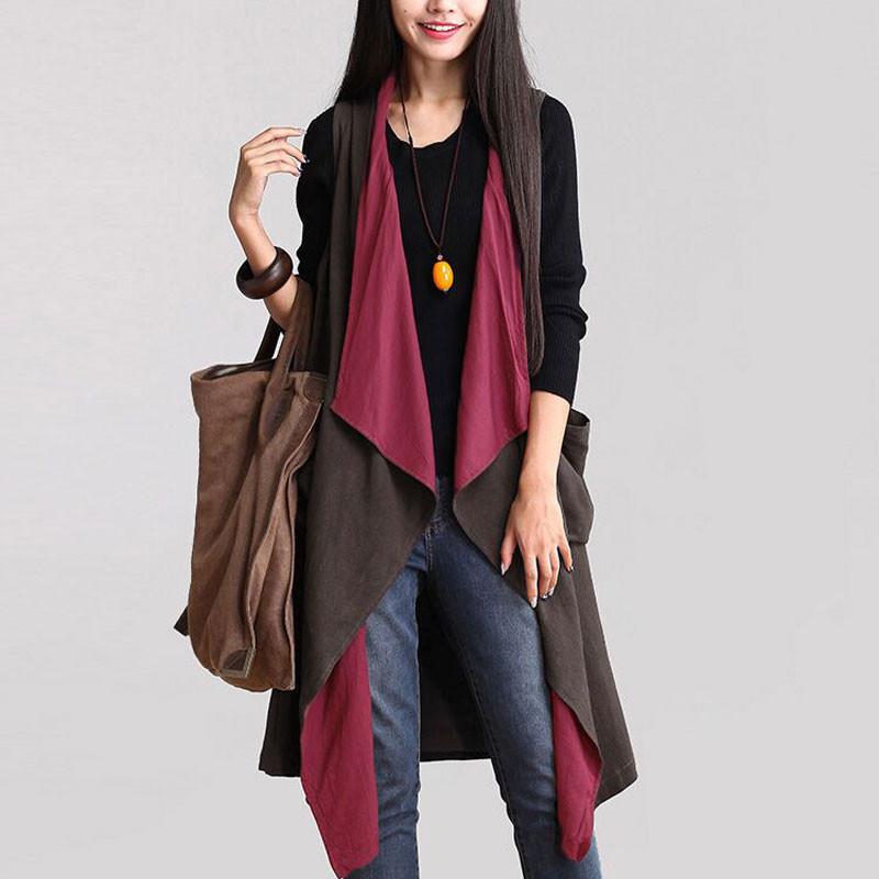Обзор жилета Casual Women Lapel Sleeveless Pocket Reversible Irregular Trench Coat Jacket