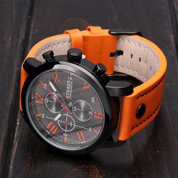 У часов Wrist Curren Man Sport Analog Quartz Fashion Leisure Leather Black Alloy есть три декоративных циферблата