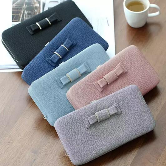 Обзор классического женского клатча Women Candy Color Bowkot 5.5 Inch Phone Wallets Case Hasp Long Purse