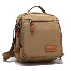 Обзор стильной мужской сумки с большим количеством карманов Ekphero(TM) Multifuctional Casual Leather Cotton Canvas IPad Shoulder