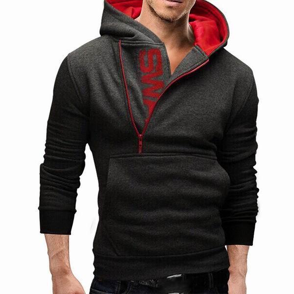 Как правильно сочетать толстовку Mens Side Zipper Hoodies Mens Jersey Sports Outdoor Turn Down Collar с верхней одеждой