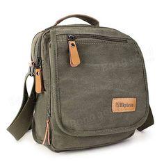 Стильный мужской аксессуар - сумка с большим количество отделений Ekphero(TM) Multifuctional Casual Leather Cotton Canvas IPad Shoulder