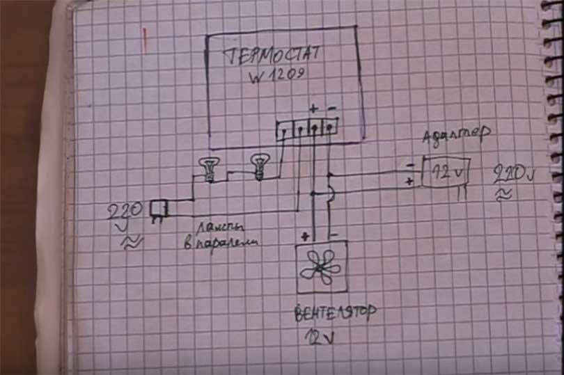 На рисунке ниже показана схема по которой подключается инкубатор. К термостату W1209 подключаются провода всех электрических приборов. Начнем с поступления переменного напряжения.