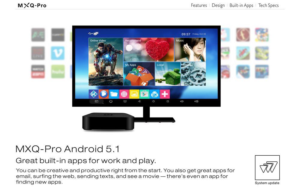 """На рабочем столе MXQ PRO S905 также находится папка """"Музыка"""" в которую можно добавлять любимые аудиокомпозиции в формате МР-3. В папке """"Локльные"""" находятся приложения """"Галерея"""", проигрыватель видеофайлов, файлы браузеров, плюс имеется возможность добавить свои приложения."""