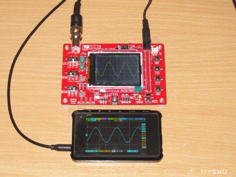 Форма осциллограм осциллографа DSO138 при таких частотах сильно искажается. Хотя период и частоту все еще остается возможным заменить.