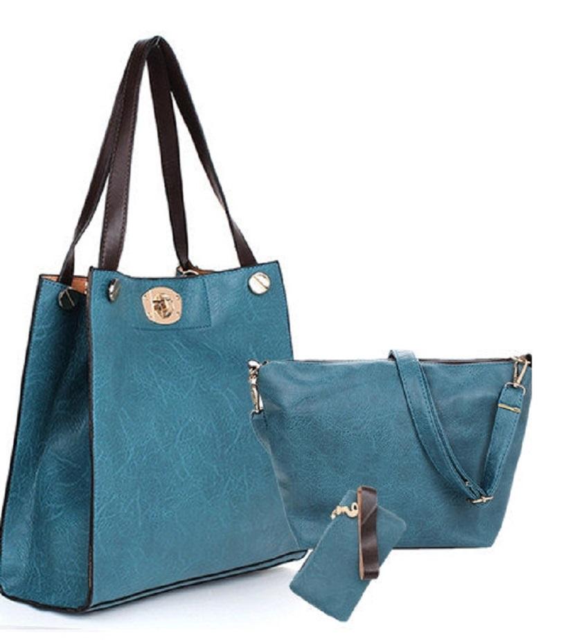 Обзор комплекта сумок Women Leisure PU Leather Big Tote Shoulder Bag